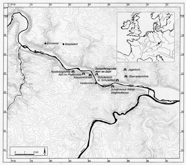 Lage der Sesselfelsgrotte, Karte
