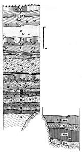Sesselfelsgrotte Gesamtprofil, Zeichnung