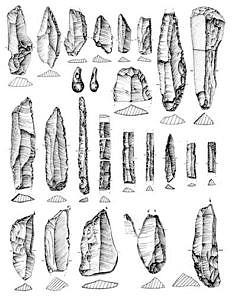 Sesselfelsgrotte, Artefakte Schicht C1-2, Zeichnung