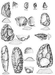 Sesselfelsgrotte, Artefakte Schicht G2, Zeichnung