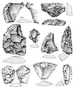 Sesselfelsgrotte, Artefakte Schicht M-O, Zeichnung