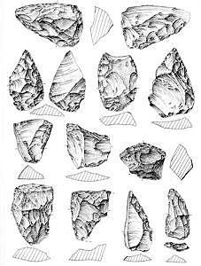 Sesselfelsgrotte, ARtefakte Schicht P-O, Zeichnung