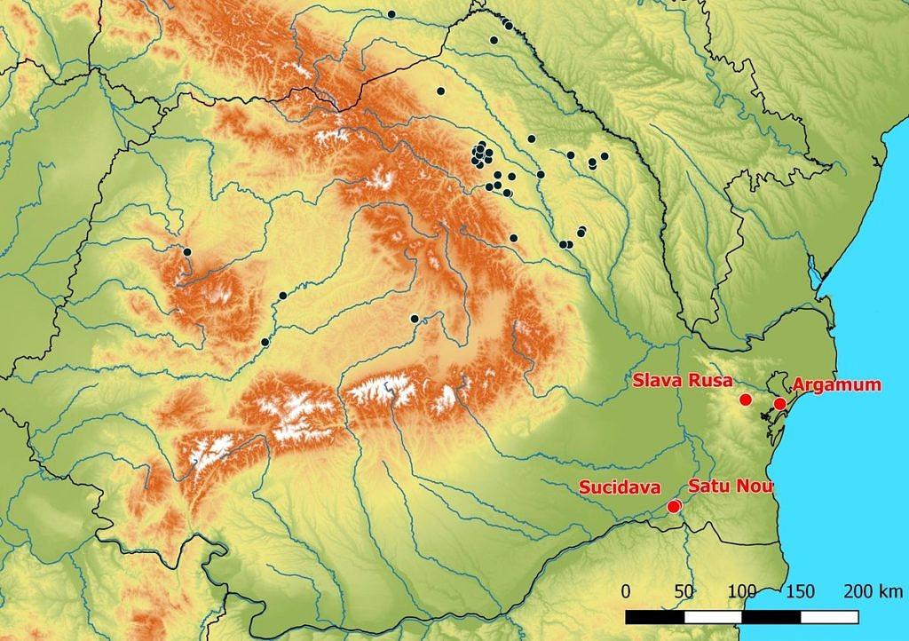 Übersicht über die seit 2015 besuchten römischen Fundorte in der Dobrudscha.