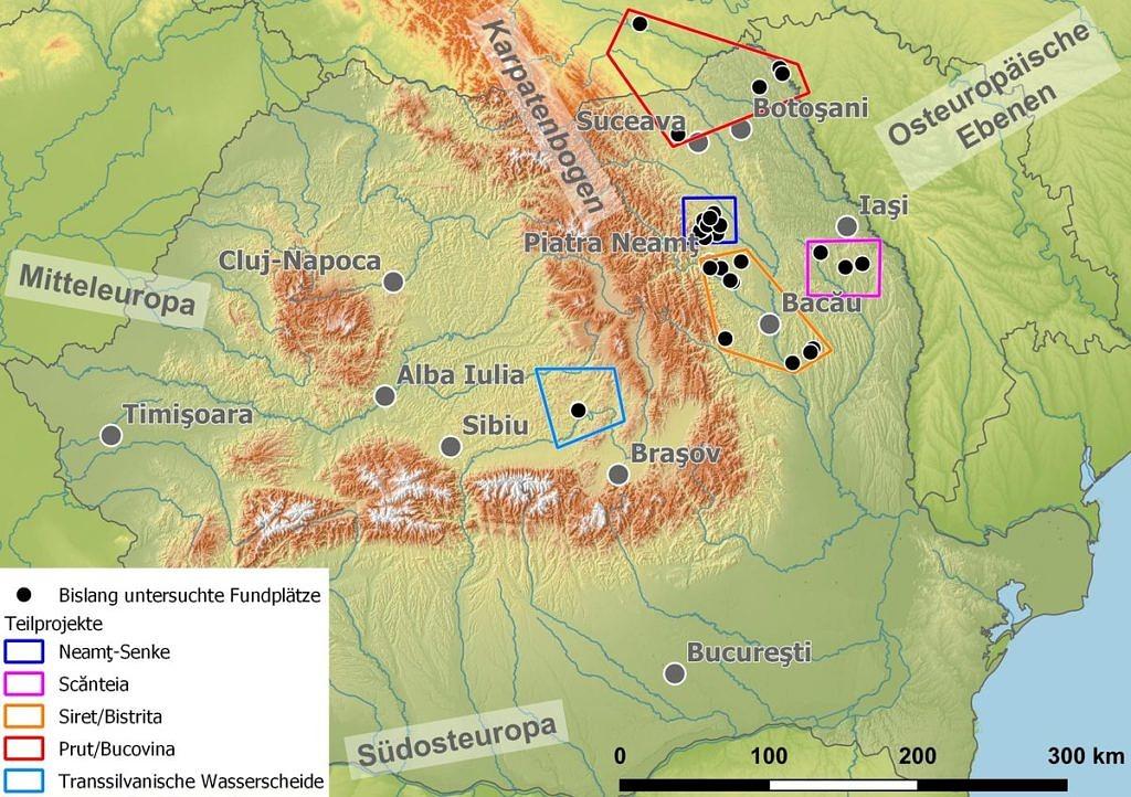 Übersicht über die Teilregionen des Moldau-Projektes.