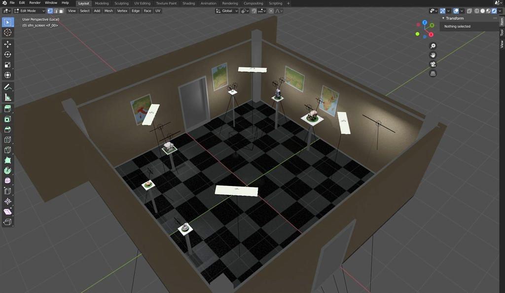 Konstruktion eines virtuellen Ausstellungsraums in Blender 2.8